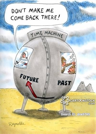 'Don't make me come back there!' Time machine future/past.